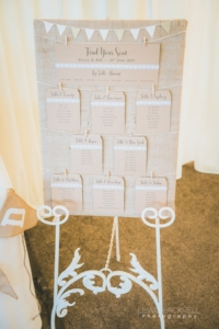 Stacey and Rob - Bespoke hessian table plan with miniature bunting by Nikki Swift Designs. Photography: http://lewisfackrell.co.uk