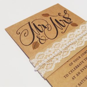 Rustic kraft card wedding invitation bundle with lace and autumn leaves