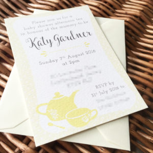 Yellow afternoon tea themed baby shower invitations