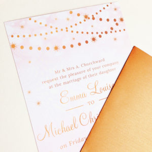 Blush pink and copper wedding invitations