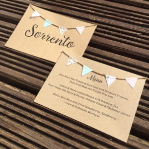 Rustic double sided table name / menu cards with miniature fabric bunting