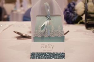 Kelly and Daniel - Bespoke glitter place cards by Nikki Swift Designs. Photography: Craig Hadfield Photography