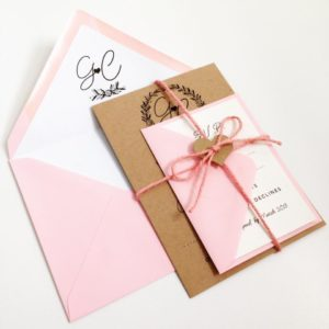 Kraft card with pastel pink rustic invitations