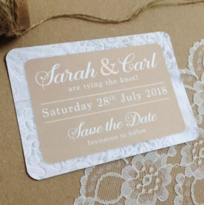 Save the Date magnets with lace effect border
