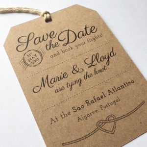 Luggage tag Save the Dates for a destination wedding