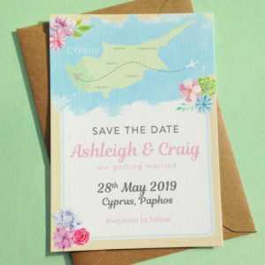 Destination wedding Save the Date featuring an illustrated map of Cyprus