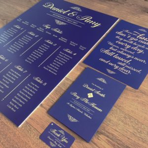 Navy and gold 'on the day' stationery - table plan, Order of Service, favour tags and a sign for absent loved ones