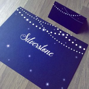 Night sky inspired table name and place cards