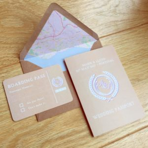 Passport inspired wedding invitations with map lined envelope and mini 'boarding pass' RSVP