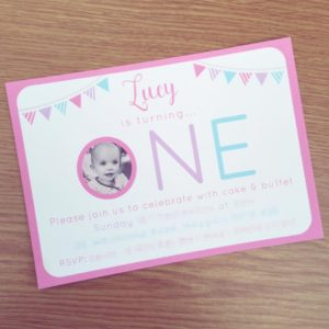Photo invitation for a 1st birthday party