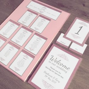Pink glitter 'on the day' stationery with delicate silver gems
