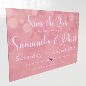 Pink Save the Date magnets with rose gold gems