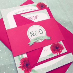 Bright pink and mint invitation bundle with polka dots and gerbera flowers
