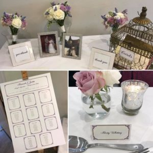 Table plan, place cards and signs with a decorative purple border