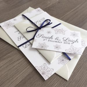 Winter wedding invitations with pretty grey snowflakes and silver gems for extra sparkle