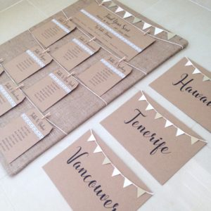Rustic table plan and table names with bunting, hessian, lace and kraft card luggage tags