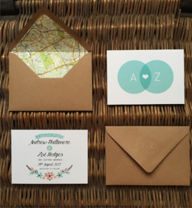 Zoë and Andrew - Bespoke Save the Date with floral Illustration and map lined kraft envelopes by Nikki Swift Designs.