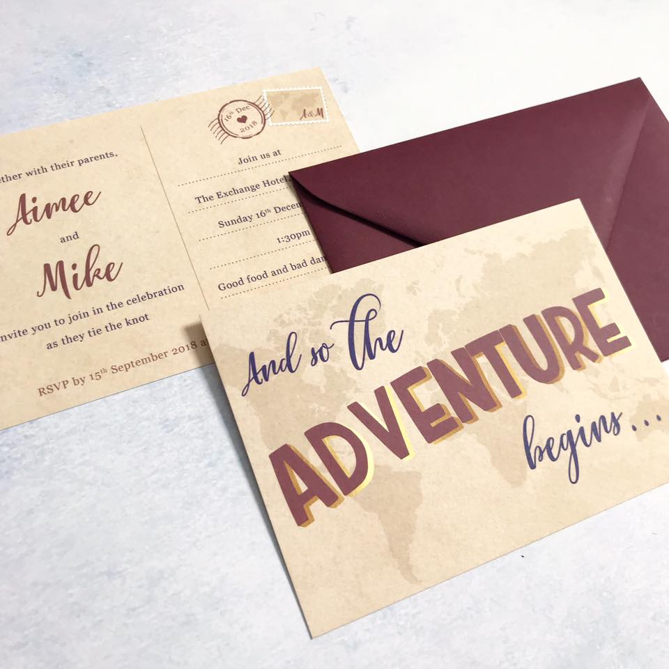 Invitation for a travel themed wedding, inspired by a vintage postcard